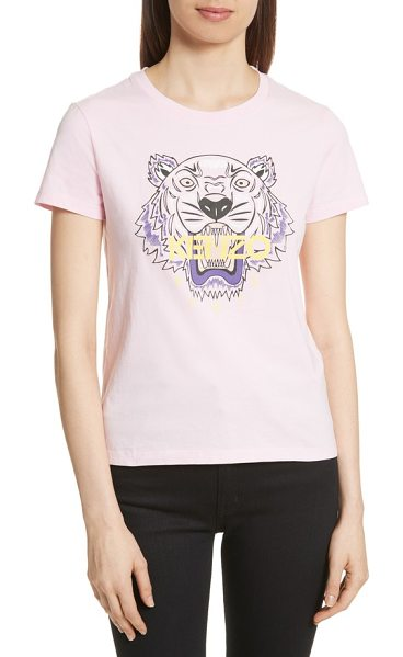 KENZO classic tiger graphic tee in flamingo pink - Make a fierce fashion statement in this graphic cotton...