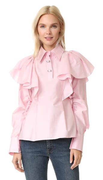 KENZO Kenzo Cotton Silk Blouse - Draped ruffles bring dramatic volume to this crisp KENZO...
