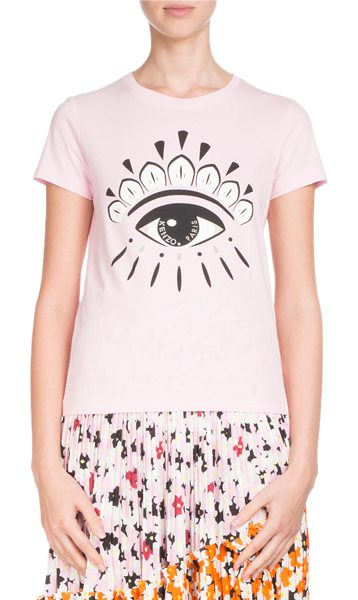 KENZO Eye-Graphic Classic Crewneck T-Shirt in pink - Kenzo classic jersey tee with eye graphic motif at...