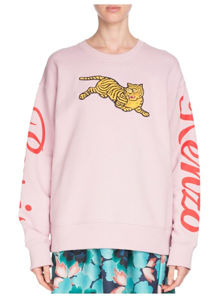KENZO Jumping Tiger Graphic Crewneck Sweatshirt in light pink - Kenzo sweatshirt with embroidered jumping tiger graphic....