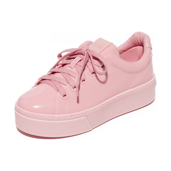 KENZO k-lace platform sneakers in faded pink - A chunky platform adds a solid lift to these glossy...