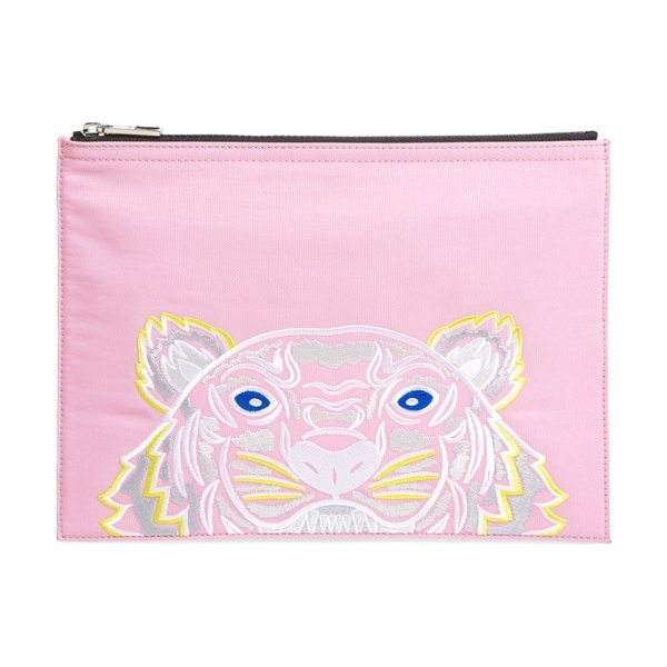KENZO kanvas tiger embroidered a4 pouch in flamingo pink - An embroidered KENZO logo and signature tiger head lend...