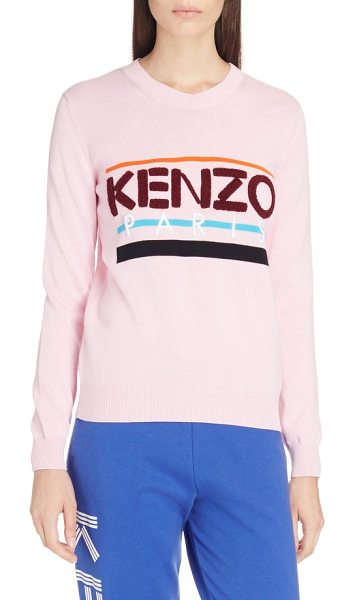 KENZO paris logo sweatshirt in flamingo pink - Chenille lettering brings three-dimensional texture to...