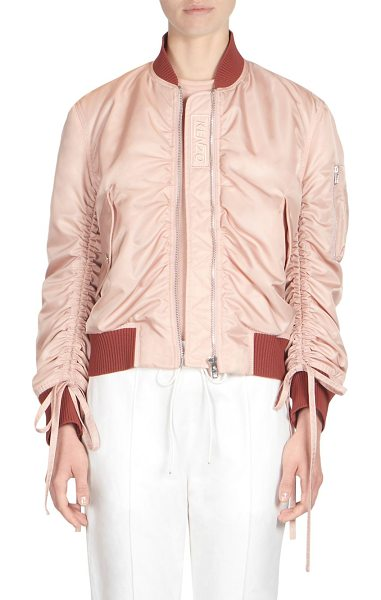 KENZO ruched sleeve bomber jacket in skin - Sleek nylon bomber jacket with ruched sleeve details....