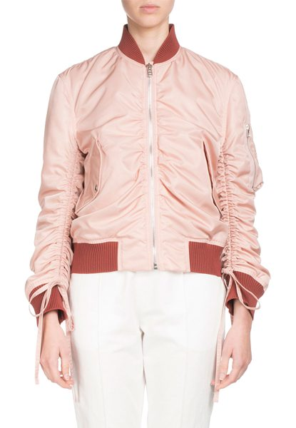 KENZO Ruched Zip-Front Bomber Jacket in flesh - Kenzo ruched bomber jacket. Knit collar, hem, and cuffs....