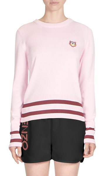 KENZO striped trim sweater in flamingo pink - Comfortablesweater with embroidered tiger at chest....