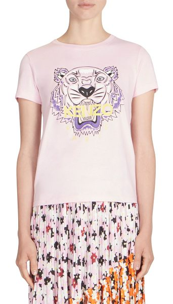 KENZO tiger graphic tee in flamingopink - Classic cotton tee with graphic detail at front....