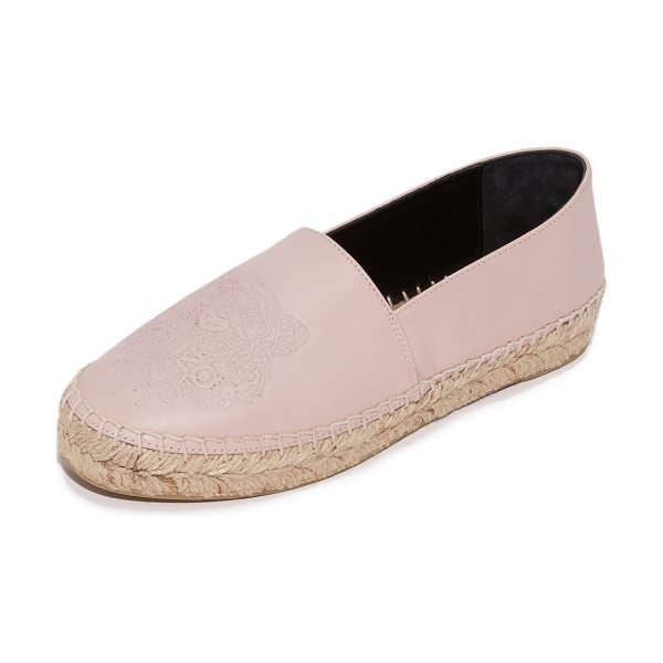 KENZO tiger espadrilles in faded pink - A signature embossed tiger accents these smooth leather...