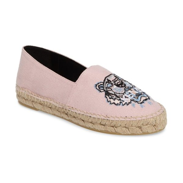 KENZO tiger logo embroidered espadrille in faded pink - The canvas espadrille goes from cool classic to fiercely...