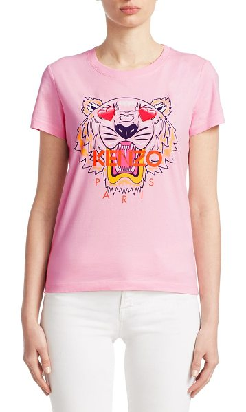 KENZO tiger print t-shirt in flamingo pink - Playful heart eyes update signature logo graphic tee....