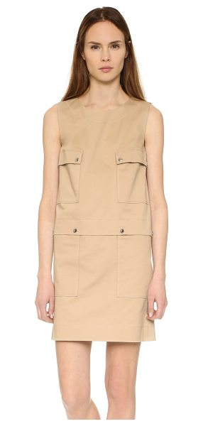 KENZO Twill cargo pocket dress in sand - A structured, utility chic KENZO dress with large snap...