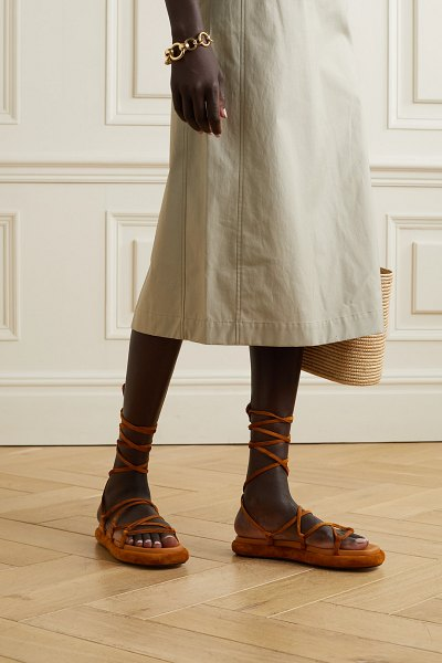 Khaite alba leather-trimmed suede sandals in camel