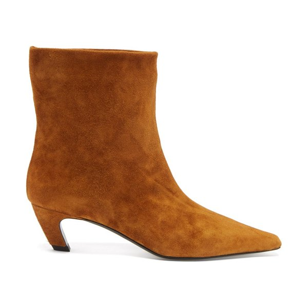 Khaite arizona square-toe suede ankle boots in tan