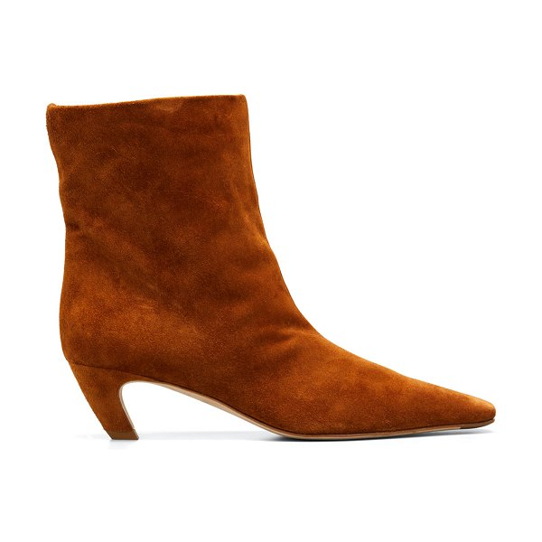 Khaite Arizona Suede Square-Toe Ankle Booties in caramel