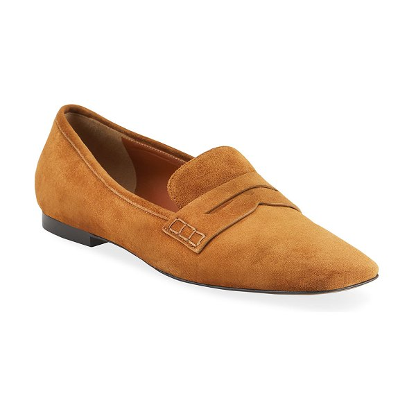 Khaite Carlisle Suede Penny Loafer in brown