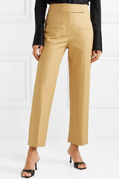 Khaite coco cropped cotton-twill straight-leg pants in sand