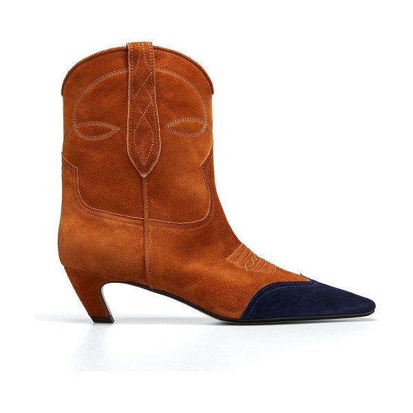 Khaite Dallas Western Suede Ankle Boots in brown/blue