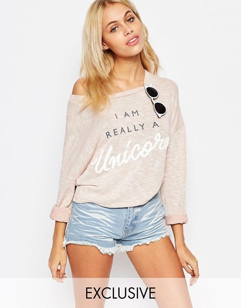 KISS & TELL Lightweight loose knit sweater with really a unicorn print in pink - Sweater by Kiss & Tell Lightweight loose knit Boat...
