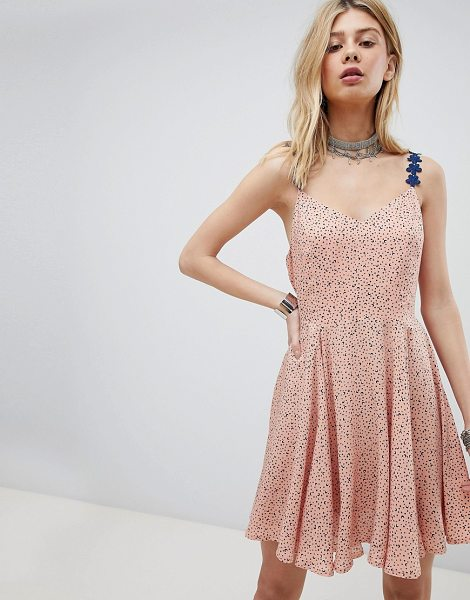 Kiss The Sky cami skater dress with lace up back in peach - Skater dress by Kiss The Sky, Star and moon print, Cute,...
