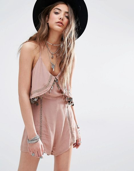 Kiss The Sky Festival Cami Romper With Coin Trim in brown - Romper by Kiss The Sky, Lightweight woven fabric, Scoop...