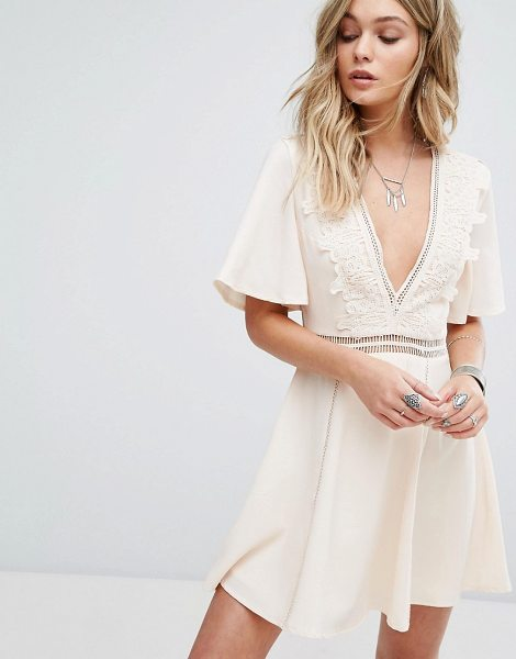 "Kiss The Sky Festival V Neck Dress With Ladder Detail in cream - """"Dress by Kiss The Sky, Woven fabric, Plunge neck,..."