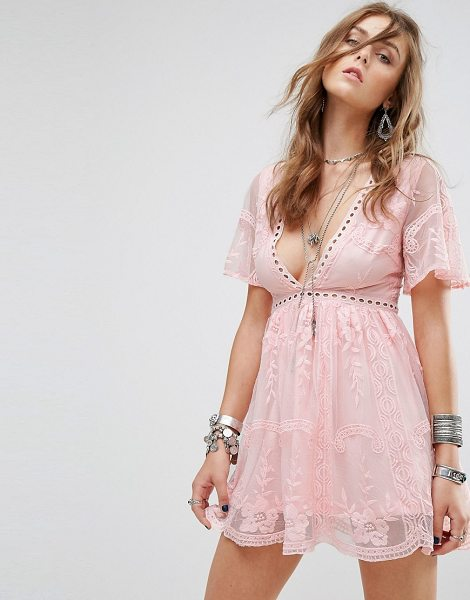 "Kiss The Sky Lace Dress With Ladder Detail in pink - """"Dress by Kiss The Sky, Embroidered lace, Partially..."