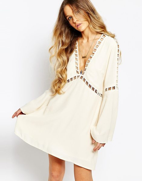 Kiss The Sky Tale from afar crochet insert smock dress in cream - Dress by Kiss The Sky, Lightweight woven fabric, Lined...