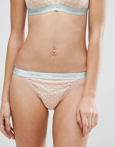 Kitty Coquete By Mimi Holliday Go Go Thong in cream - Thong by Kitty Coquet, Stretch fabric, Low-rise waist...