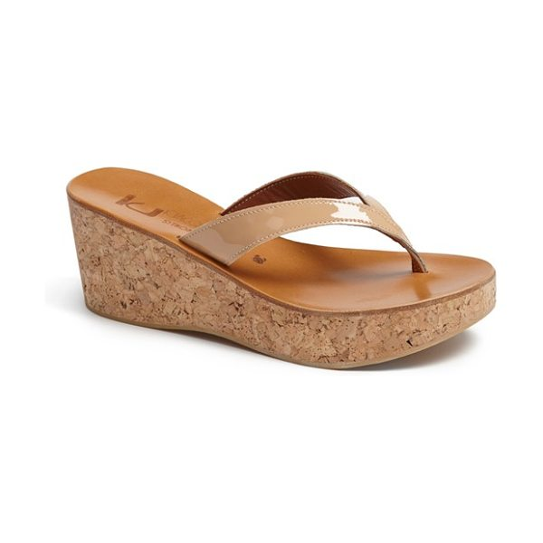 K. Jacques diorite wedge sandal in tan - A cork-wedge heel and platform lift a chic, handcrafted sandal.