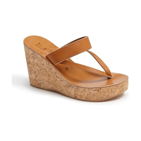 K. Jacques saturnine cork wedge sandal in brown - Shimmering leather straps wrap the foot on a hand-made...