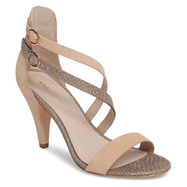 Klub Nico arden sandal in beige - Sweeping buckle straps add dynamic movement and...
