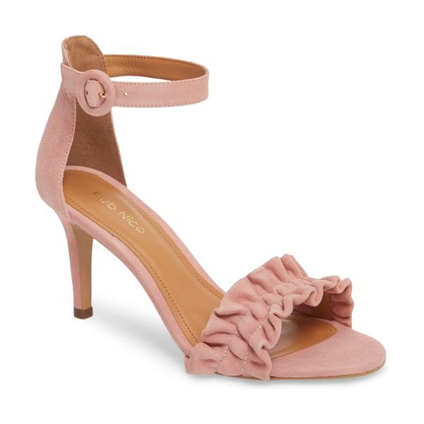 Klub Nico arlow sandal in blush leather - A gather of icing-like ruffles crosses the toe of a...