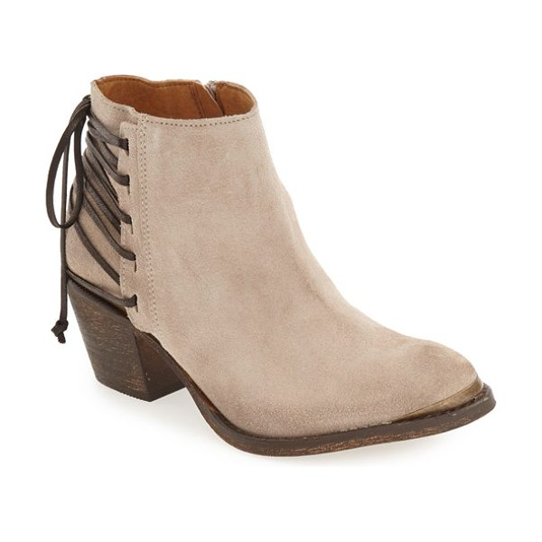Klub Nico 'berta' bootie in taupe suede - Wraparound straps corset the back of a weathered-suede...