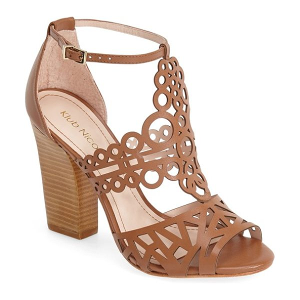 Klub Nico madrid cutout leather sandal in honey - Stunning geometric cutouts intensify the retro...