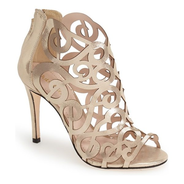 KLUB NICO 'marla' laser cutout peep toe bootie in champagne - Extravagant laser-cutout curlicues and scrolls define...