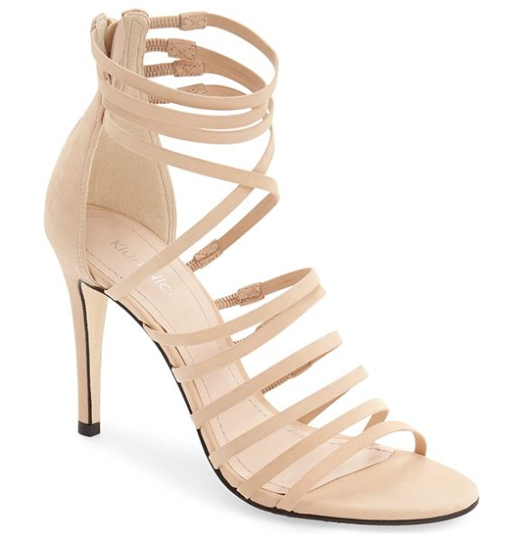 Klub Nico 'marlow' sandal in nude nubuck leather - Slender laddered and crossover straps heighten the...