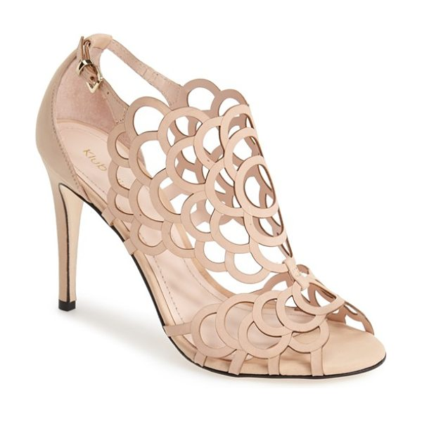 Klub Nico 'millie' cutout sandal in beige - Delicate laser-cut perforations dance across the...