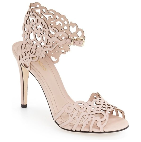 Klub Nico 'moxie' laser cutout sandal in blush nubuck leather - Intricate cutout leather adds fun flair to a sandal set...