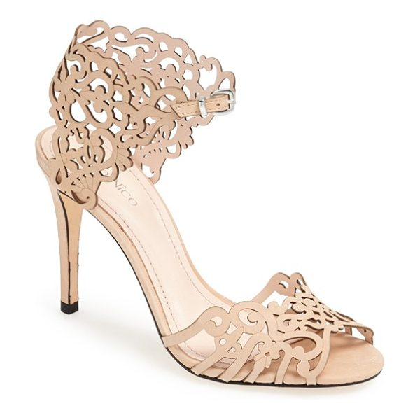 Klub Nico 'moxie' laser cutout sandal in beige - Intricate cutout leather adds fun flair to a sandal set...