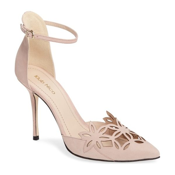 KLUB NICO 'romea' pointy toe pump - Delicate floral cutouts at the vamp add eye-catching...