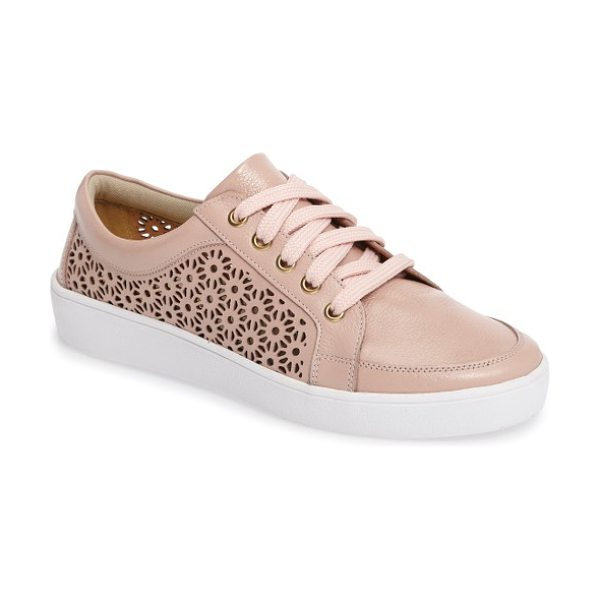 Klub Nico salena sneaker in blush leather - Laser-cut detailing adds a summery touch to leather...
