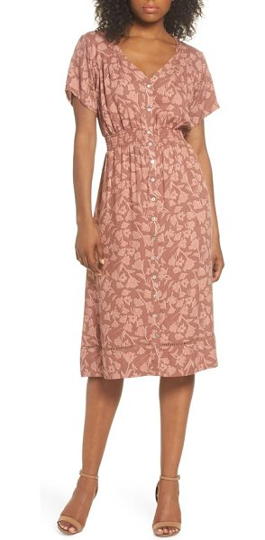 Knot Sisters farrell floral smock waist dress in sienna tulips print - Keeping it classic with a full-length buttoned front, a...