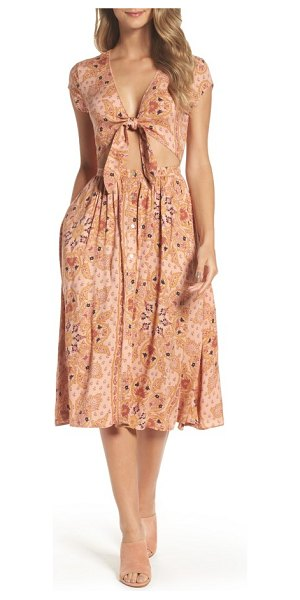 Knot Sisters park slope cutout midi dress in blush mandala - A wardrobe piece to take you through the summer season,...