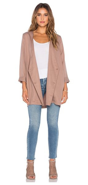 Knot Sisters Reagan Jacket in taupe - Poly blend. Dry clean only. Button front closure. Side...