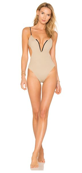 KOA Reversible Golden One Piece in tan & black - 82% nylon 18% spandex. Hand wash cold. Stretch fit....
