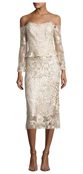 KOBI HALPERIN Adora Cold-Shoulder Floral Lace Cocktail Dress in champagne - ONLYATNM Only Here. Only Ours. Exclusively for You. Kobi...
