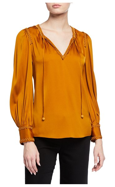 KOBI HALPERIN Alessandra Stretch Silk Blouse in bronze