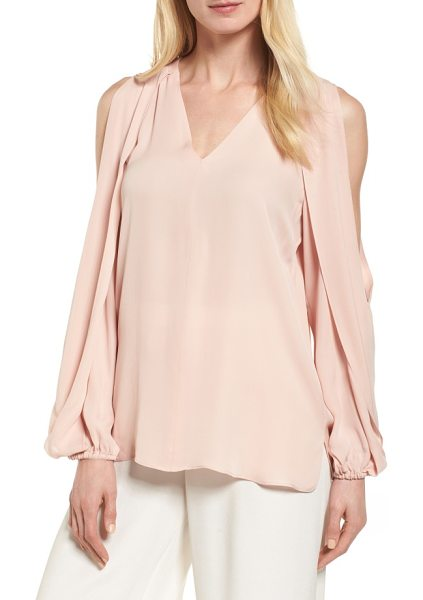 KOBI HALPERIN caroline cold shoulder silk blouse in rosewater - Draped and slit from shoulder to elbow, the billowy long...