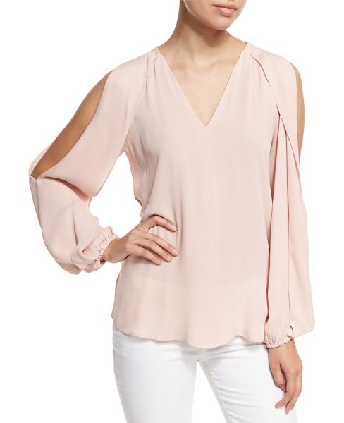 "KOBI HALPERIN Caroline V-Neck Split-Sleeve Cold-Shoulder Blouse - Kobi Halperin ""Caroline"" chiffon blouse with draped..."