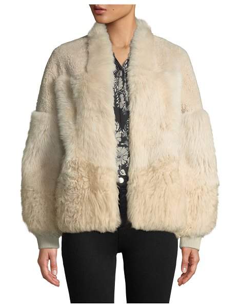 "KOBI HALPERIN Connie Patched Lamb Fur Jacket in champagne - Kobi Halperin ""Connie"" jacket in dyed lamb shearling..."